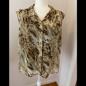 Dana Buchman safari print blouse, size XL